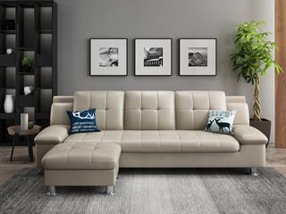 纳德威 现代简约皮艺米白色真皮沙发组合 3+脚踏