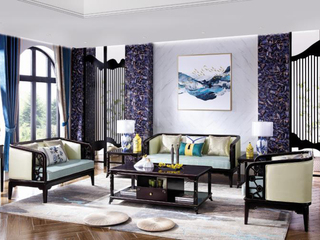 新中式实木系列沙发组合1+2+3 胡桃木色 布艺沙发 中式禅意沙发组合客厅