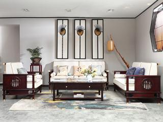 合盛佐罗 新中式 南美花梨木官帽沙发