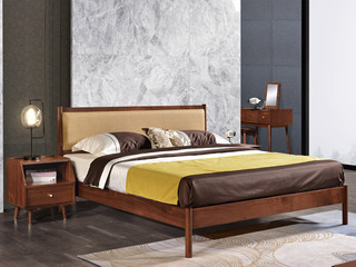 意式极简风格  印尼胡桃木 棉麻布艺 松木排骨架 1.5米床