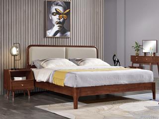 意式极简风格  印尼胡桃木 高仿纳帕纹真皮 松木排骨架 1.8米床
