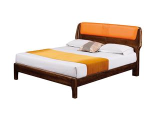 意式极简风格  印尼胡桃木 松木排骨架 1.8米床