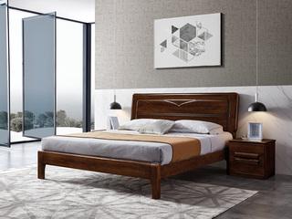 意式极简风格  印尼胡桃木 松木排骨架 1.5米床