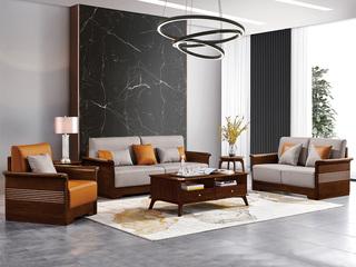 意式极简风格  印尼胡桃木 高仿纳帕纹真皮沙发组合(1+ 2 +3)