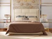 慕梵希 轻奢旗舰版米白色 高端纳帕皮 北美进口落叶松坚固框架 C01床