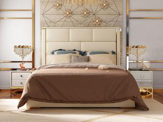 慕梵希 轻奢旗舰版米白色 优质头层黄牛皮  北美进口落叶松坚固框架 C01床头层真皮