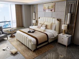 慕梵希 轻奢舒适版米白色 高端纳帕皮 北美进口落叶松坚固框架 C02 1.5米床 (高箱床)