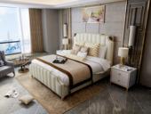 慕梵希 轻奢舒适版米白色 高端纳帕皮 北美进口落叶松坚固框架 C02 1.5米床
