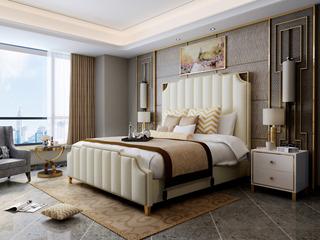 慕梵希 轻奢旗舰版米白色 优质头层黄牛皮  北美进口落叶松坚固框架 C02床