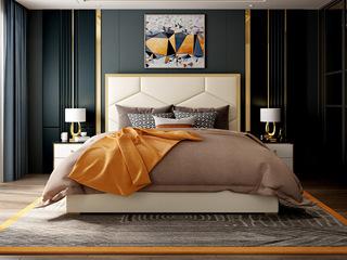慕梵希 轻奢豪华版米白色 高端纳帕皮 北美进口落叶松坚固框架 C09床