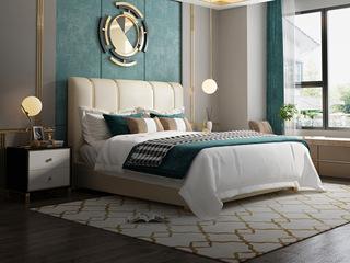 慕梵希 轻奢风格 A20床1.5*2.0米钛金豪华版纳帕皮 北美进口落叶松框架床 高箱床