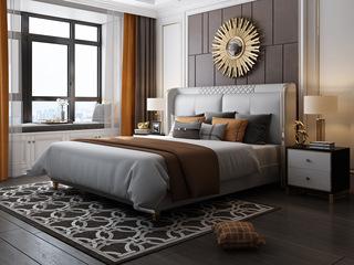 慕梵希 轻奢豪华版样色 真皮 不锈钢镀镀金封釉 实木加固排骨架A10床 1.8*2.0米床