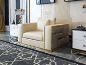慕梵希 轻奢1人位米黄色豪华版 高端纳帕皮 北美进口落叶松框架 C01沙发