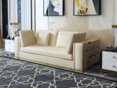 慕梵希 轻奢2人位米黄色豪华版 高端纳帕皮 北美进口落叶松框架 C01沙发