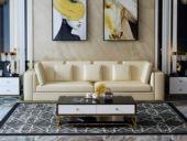 慕梵希 轻奢3人位米黄色豪华版 优质头层黄牛皮  北美进口落叶松框架 C01沙发