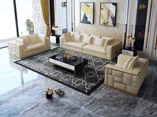 慕梵希 轻奢 (1+2+3) 米黄色豪华版 优质头层黄牛皮  北美进口落叶松框架 C01沙发组合