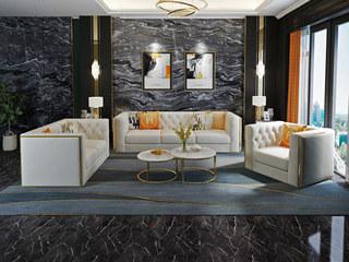 慕梵希 轻奢 (1+2+3) 米白色不锈钢镀金封釉 绒布 北美进口落叶松框架 C02沙发组合