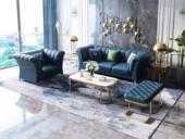 慕梵希 轻奢 (1+2+3) 深蓝 优质头层黄牛皮  北美进口落叶松框架 C07沙发组合