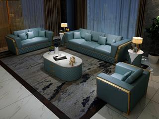 慕梵希 轻奢 (1+2+3) 蓝色 高端纳帕皮 北美进口落叶松框架 C12沙发组合