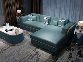 慕梵希 轻奢 (3+右贵妃) 蓝色 高端纳帕皮 北美进口落叶松框架 C12沙发组合