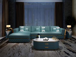 慕梵希 轻奢 (1+3+右贵妃) 蓝色 优质头层黄牛皮  北美进口落叶松框架 C12沙发组合