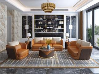 慕梵希 轻奢 (1+2+3) 橙色配咖啡色 优质头层黄牛皮  北美进口落叶松框架 C18沙发组合