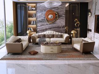 慕梵希 轻奢 (1+2+3) 米白配卡其色 优质头层黄牛皮  北美进口落叶松框架 C19沙发组合