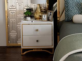 慕梵希 轻奢 白不锈钢镀金  C01床头柜