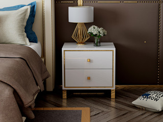 慕梵希 轻奢 白不锈钢镀金  C02 大尺寸 床头柜