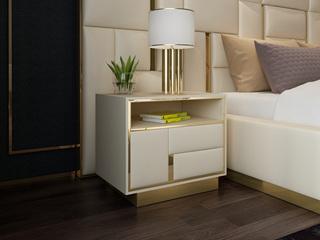 慕梵希 轻奢 白不锈钢镀金 优质皮革C08床头柜