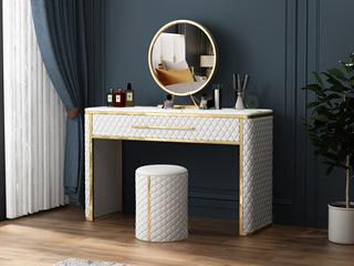 慕梵希 轻奢 米白 高端纳帕皮 不锈钢框架 钢化玻璃C20妆台+妆凳(不含妆镜)
