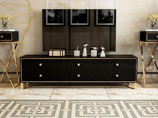 慕梵希 轻奢 黑不锈钢镀金 钢化玻璃 1.8米C02电视柜