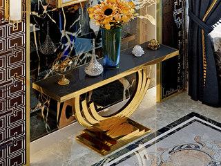 慕梵希 轻奢 黑不锈钢镀金 钢化玻璃C02玄关