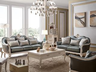 柏莎贝尔 苔丝系列 简欧风格 头层精致牛皮 珍珠白皮艺沙发 高贵品格 沙发组合(1+2+3)
