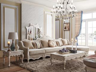 柏莎贝尔 苔丝系列 简欧风格 头层精致科技布艺高贵品格 转角沙发(1+1+2+脚踏)
