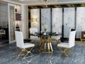 慕梵希 轻奢 黑不锈钢镀金 钢化玻璃C03餐桌(含转盘)