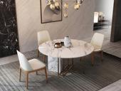 慕梵希 轻奢 白不锈钢镀金 大理石C06餐桌