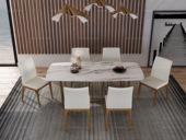 慕梵希 轻奢 白不锈钢镀金 大理石C07餐桌