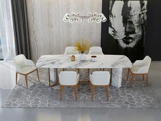 慕梵希 轻奢 白不锈钢镀金 大理石C08餐桌