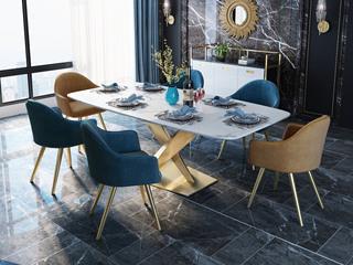 慕梵希 轻奢 不锈钢镀金 白色 大理石T1029餐桌 2米餐桌