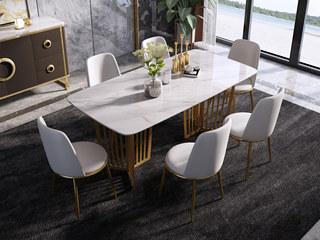慕梵希 轻奢 样色不锈钢镀金 大理石C17餐桌