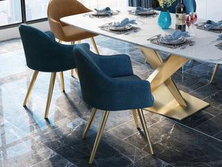 慕梵希 轻奢 蓝色不锈钢镀金 丝光绒布H1012#椅 蓝色
