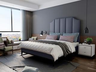 诺美帝斯 意式极简C06B床旗舰版 1.8*2.0米浅蓝色布艺床