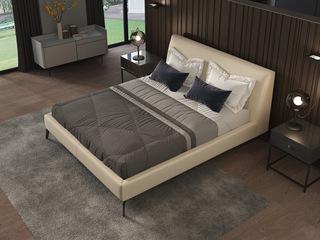 诺美帝斯 意式极简C13B床旗舰版 1.8*2.0米米黄色头层真皮皮艺床