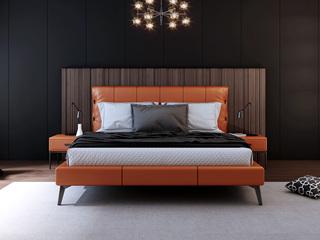诺美帝斯 意式极简C19B床旗舰版 1.8*2.0米橙色纳帕皮皮艺床