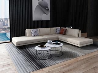 诺美帝斯 意式极简T01沙发 纳帕皮米白色皮艺转角沙发