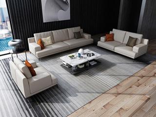 诺美帝斯 意式极简T02沙发 纳帕皮米白色皮艺沙发组合 1+2+3