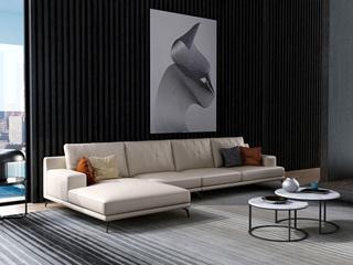 诺美帝斯 意式极简T02沙发 纳帕皮米白色皮艺转角沙发 1+3+右贵妃