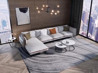 诺美帝斯 意式极简T06沙发 纳帕皮银灰色皮艺转角沙发 1+3+右贵妃