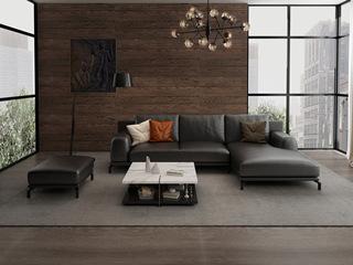 诺美帝斯 意式极简T08沙发 纳帕皮深棕色皮艺转角沙发 3+左贵妃